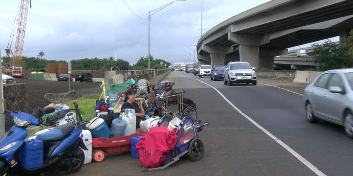 PHOTOS: Dozens of homeless are kicked out of a camp under Nimitz viaduct