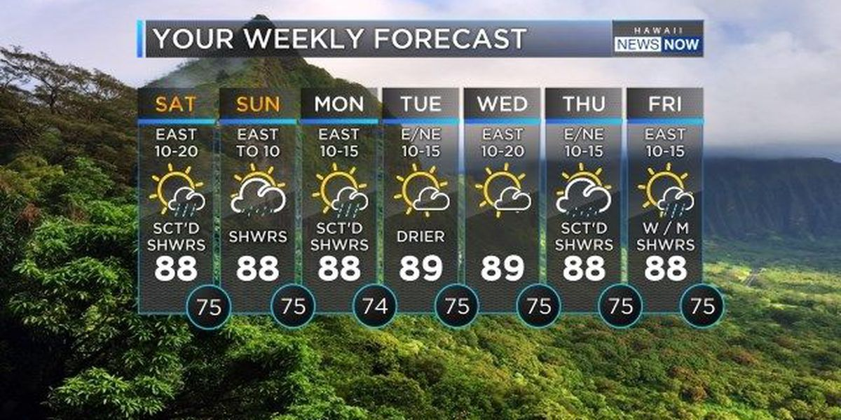 Forecast: Increasing showers, decreasing trades for the weekend