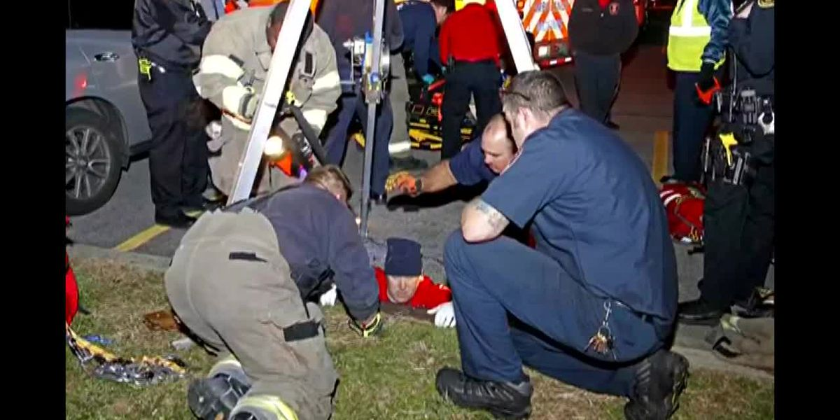 Mother, baby rescued after falling 20 feet down storm drain