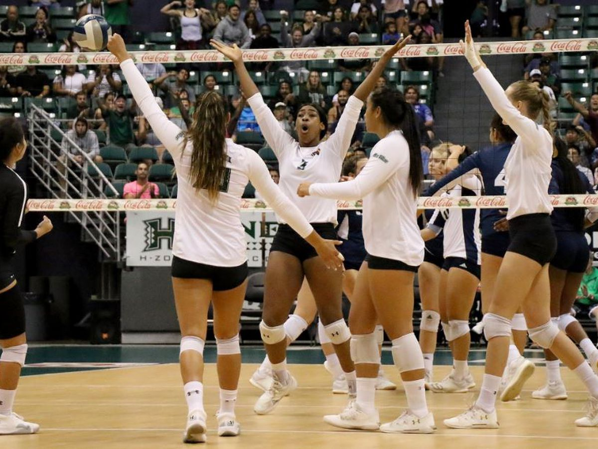 Wahine rally from two sets down to defeat UC Davis