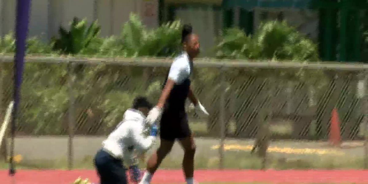 Los Angeles Rams hold 7-on-7 passing and Big Man Championships at Iolani Schiool