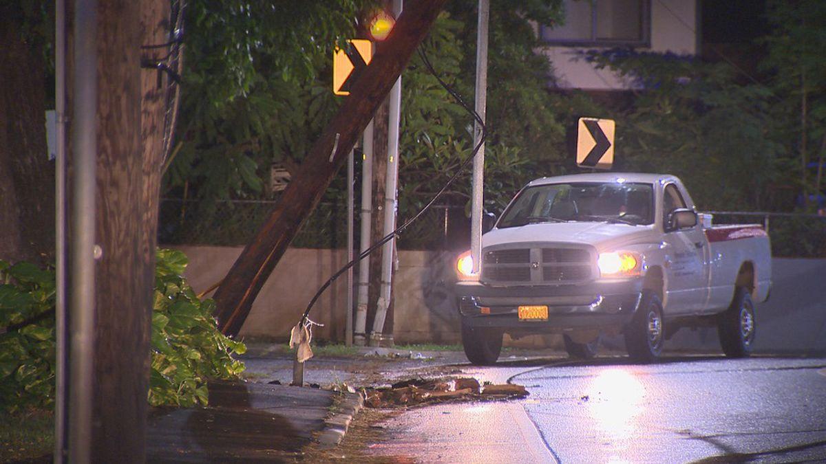 Portion of Waipahu St. closed due to damaged pole