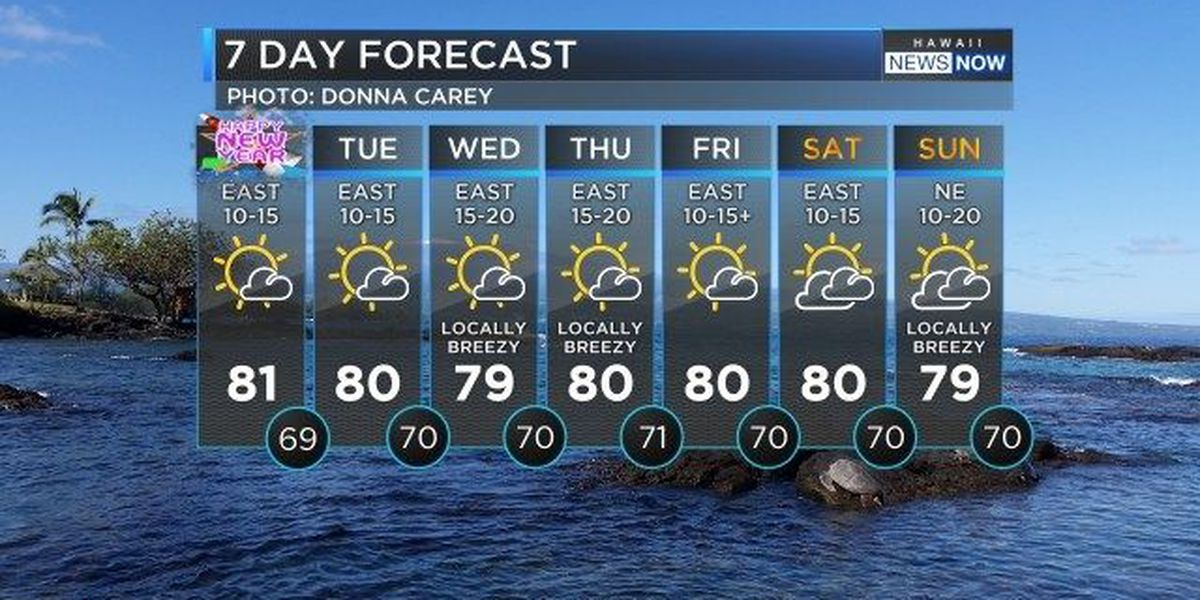 Forecast: Dry trade wind weather into the New Year