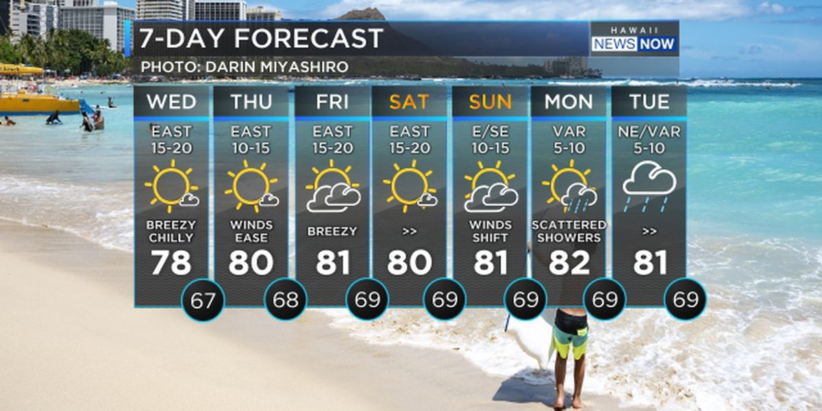 Forecast: Trade winds return, more showers due over the weekend