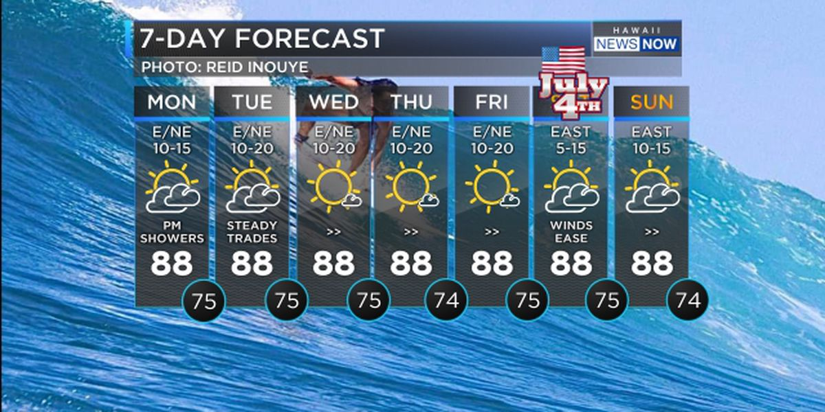 Forecast: Light trades with big surf continue today