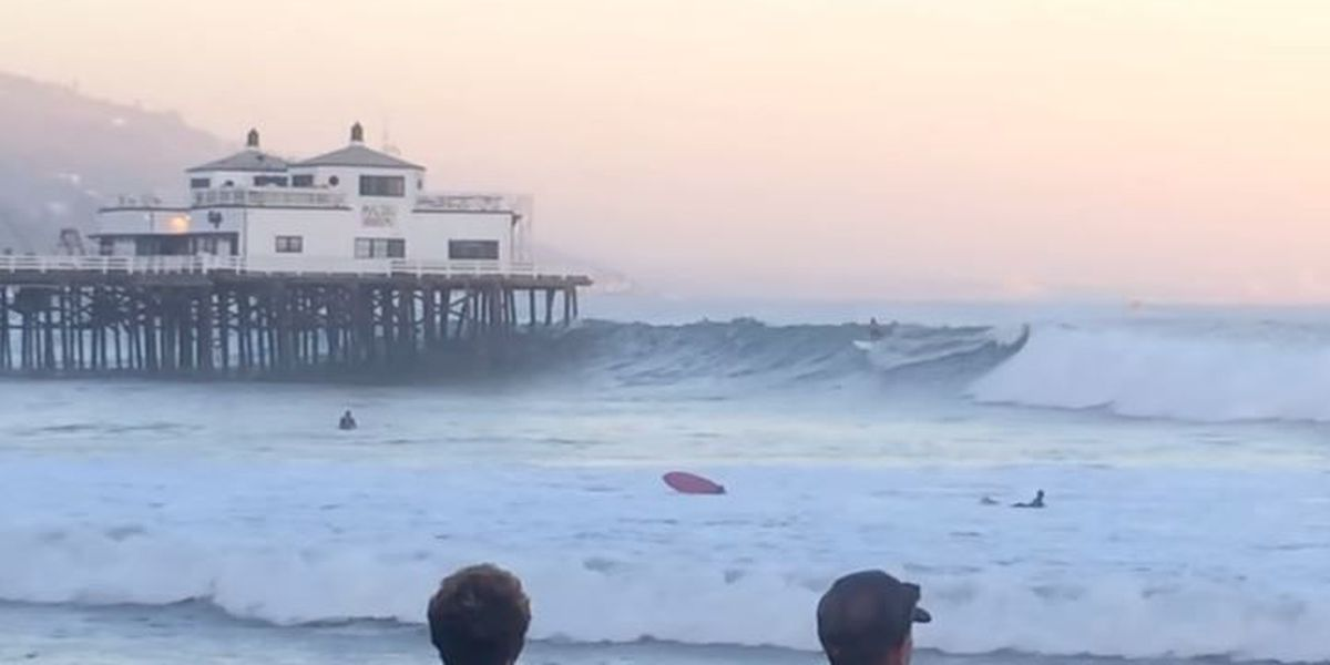 VIRAL VIDEO: Laird Hamilton 'shoots the pier' in hurricane-sized swell