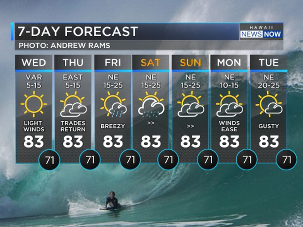Forecast: Dry, light wind weather conditions; large surf moving in