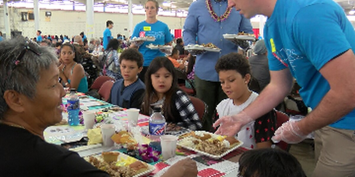 Nearly 2,000 people gathered at the Blaisdell for the state's largest Thanksgiving meal