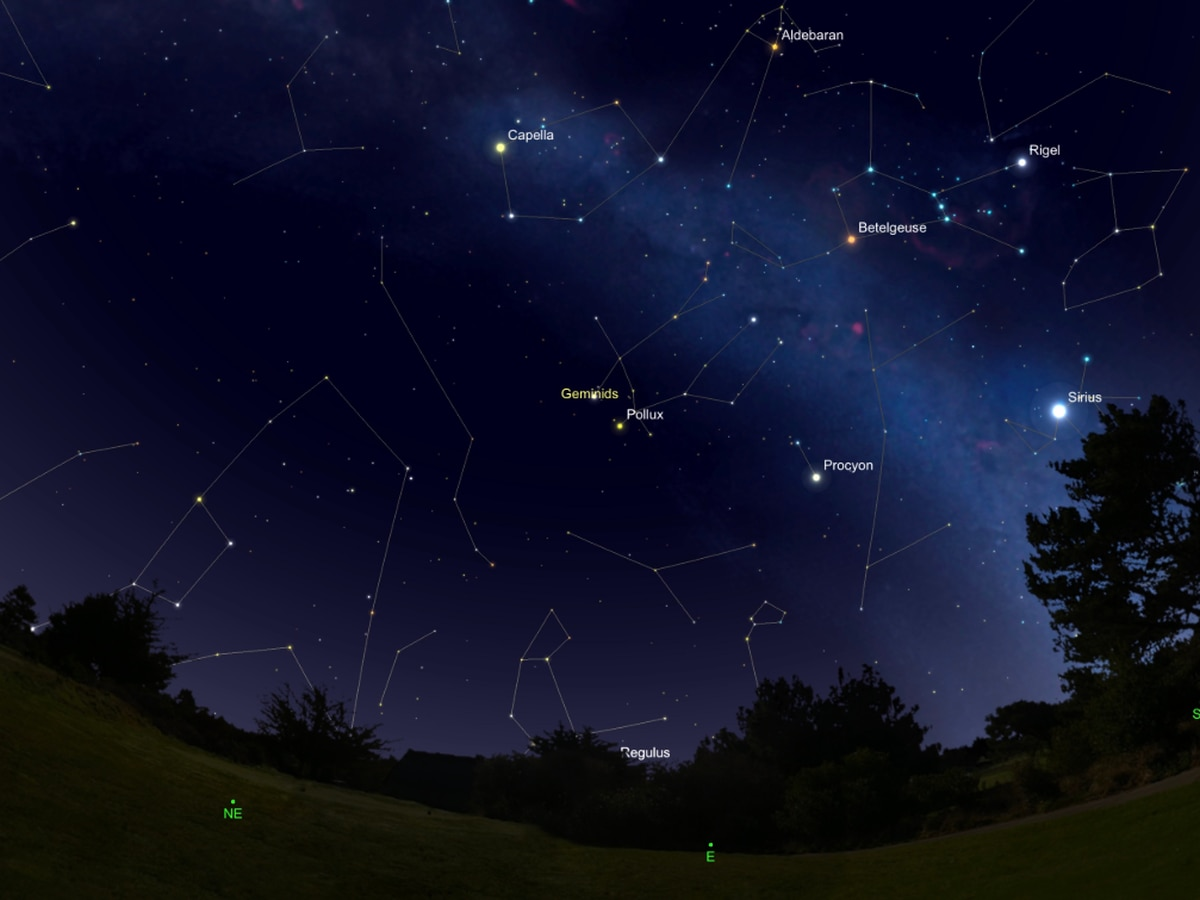 Here's the scoop on where the weather will be best for the Geminids meteor shower