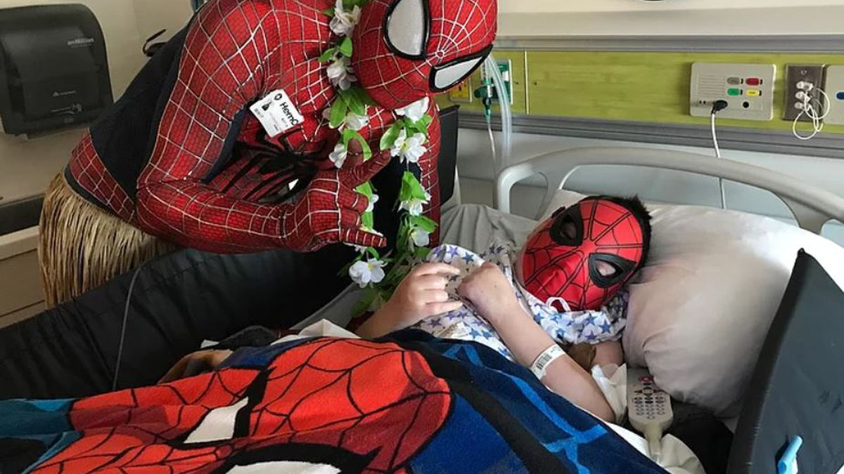 A superhero with a heart of gold travels across the country to cheer up sick kids