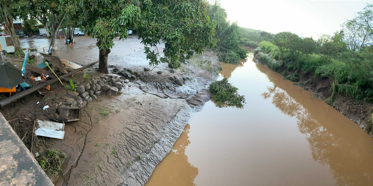 On Tuesday, Haleiwa's Opaeula Stream swelled to historic levels not seen since 1974
