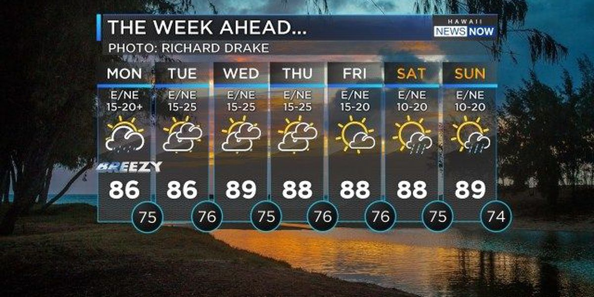 Forecast: More widespread showers, stronger trades to start the week