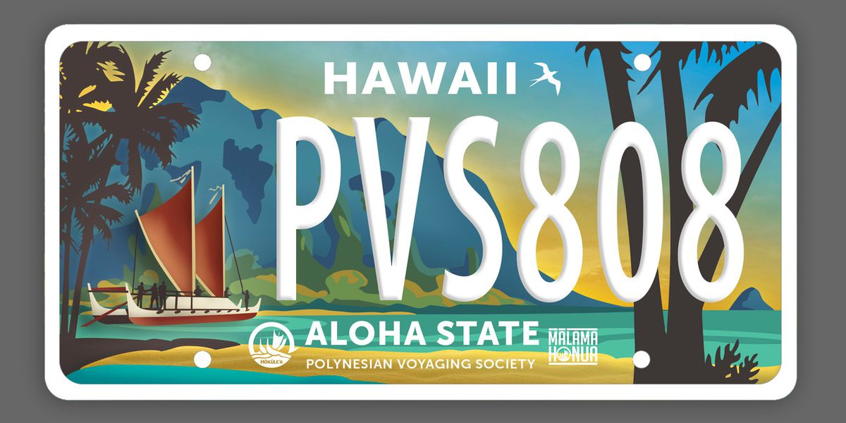 Drivers will be able to purchase a special license plate that features the iconic Hokulea