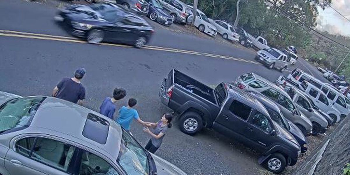 A rock wall saves a Makiki couple's life from an out of control speeding car