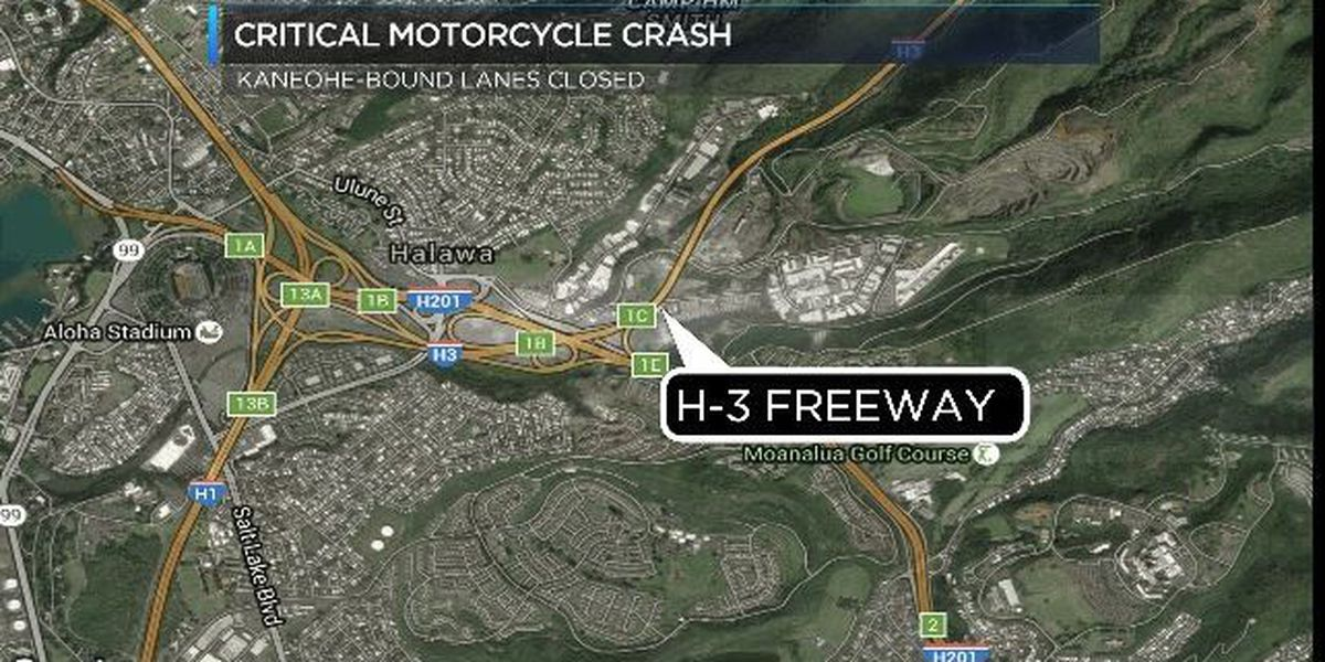 Motorcyclist critically injured in crash on H-3