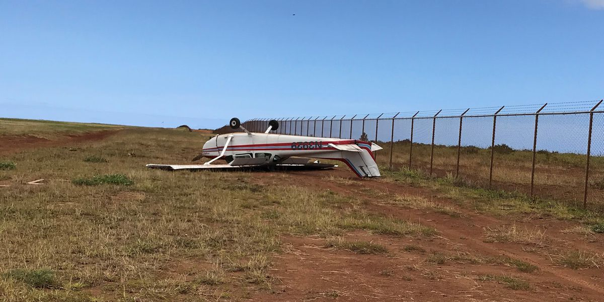 Single-engine plane flips over while landing at Lanai Airport