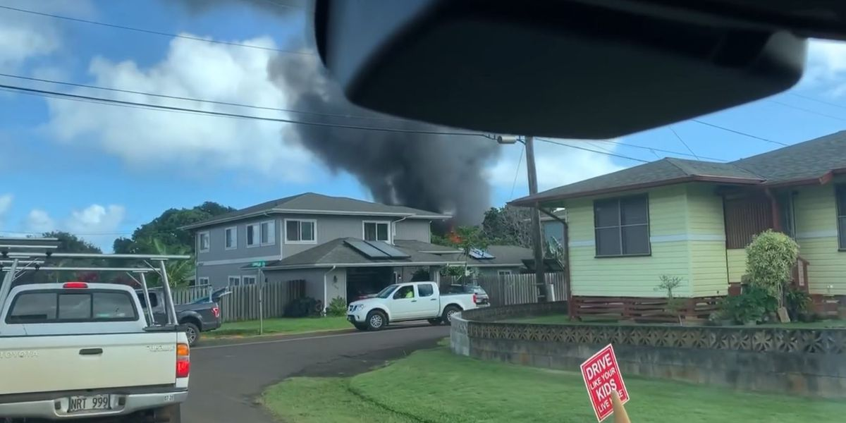 Flames tear through a Kilauea home on Kauai