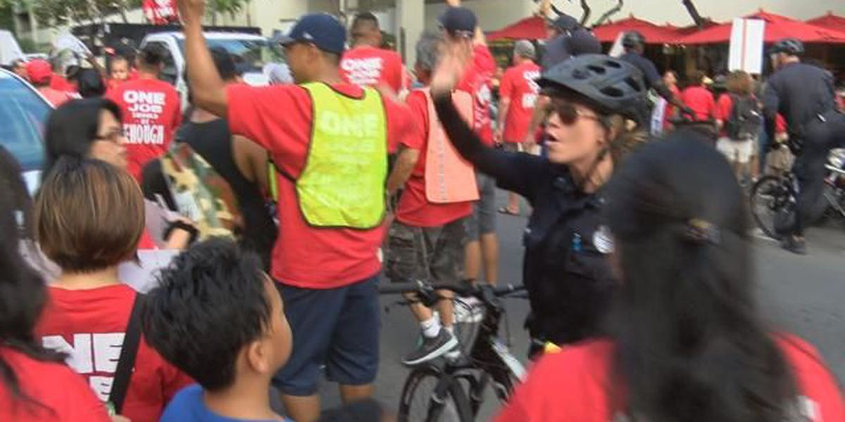 Thousands of Hawaii hotel workers protest for better wages