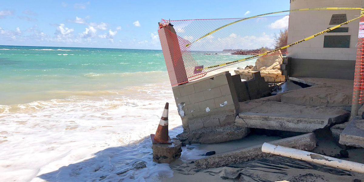 Crews to remove portion of damaged pavilion at Baldwin Beach Park