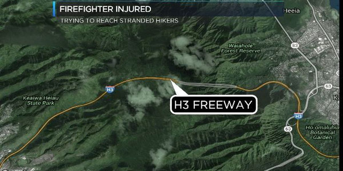 Firefighter injured while trying to rescue stranded hikers in Koolau mountain range