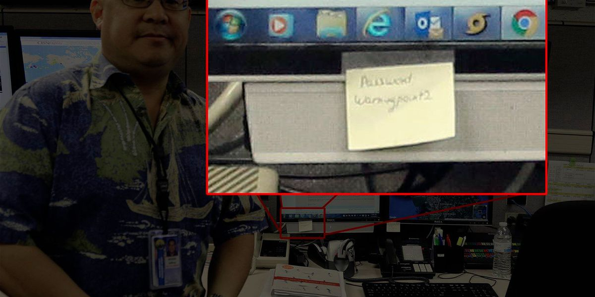 Yes, that is a password stuck to a screen at Hawaii's emergency management HQ