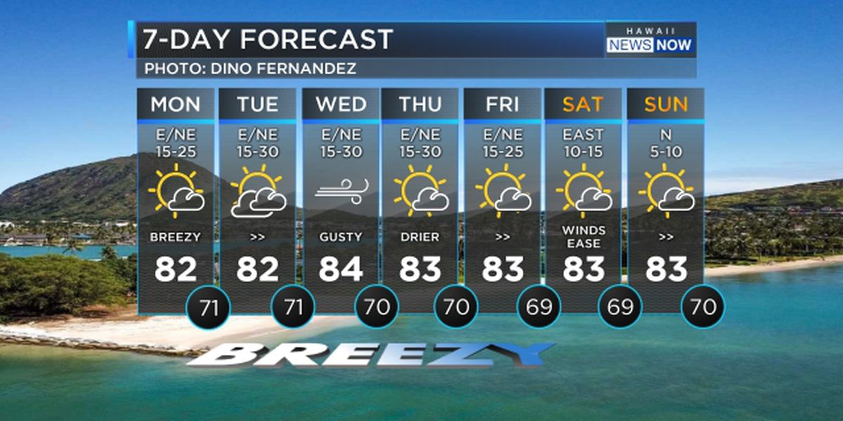 Forecast: Breezy trade winds to persist through the week, into the weekend
