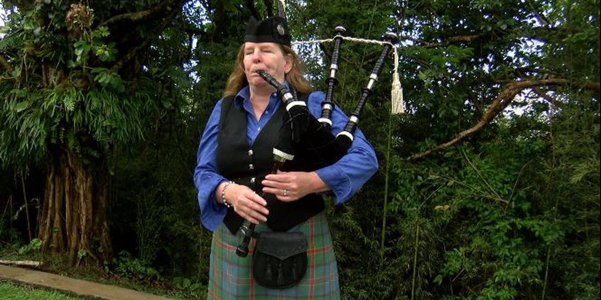 Every Friday, somber sounds of the bagpipes echo at a Waikiki memorial