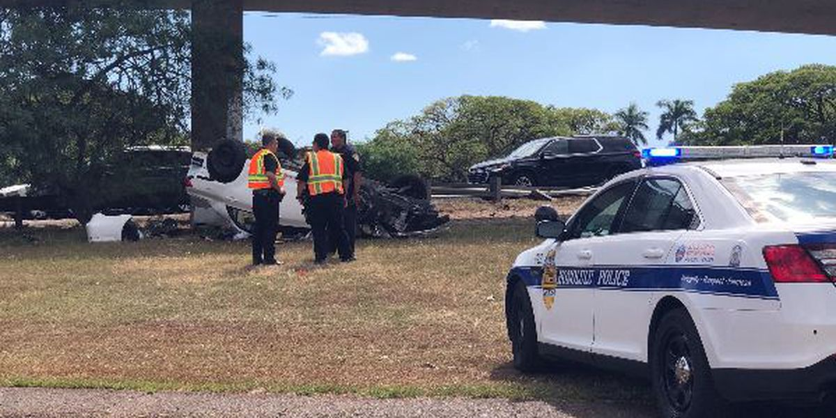 91-year-old driver seriously injured when car veers off road, flips over