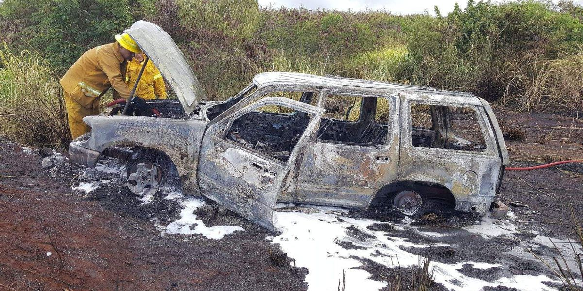 Vehicle's hot exhaust ignites Maui brush fire, destroys SUV