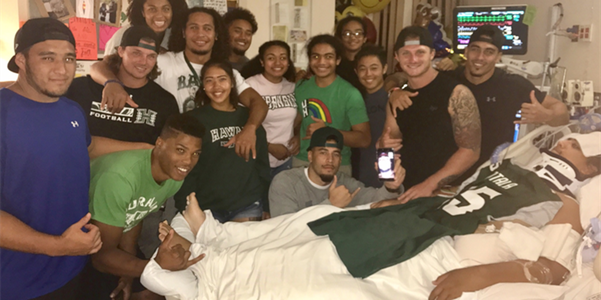 Family of UH football player injured in diving accident says 'mahalo' to team, community