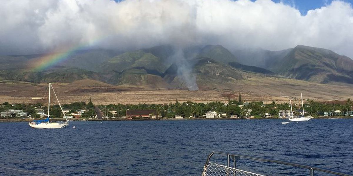 Maui firefighters work to extinguish brush fire near Lahainaluna High School