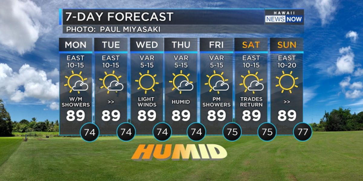 Forecast: Trade wind weather to start off the workweek