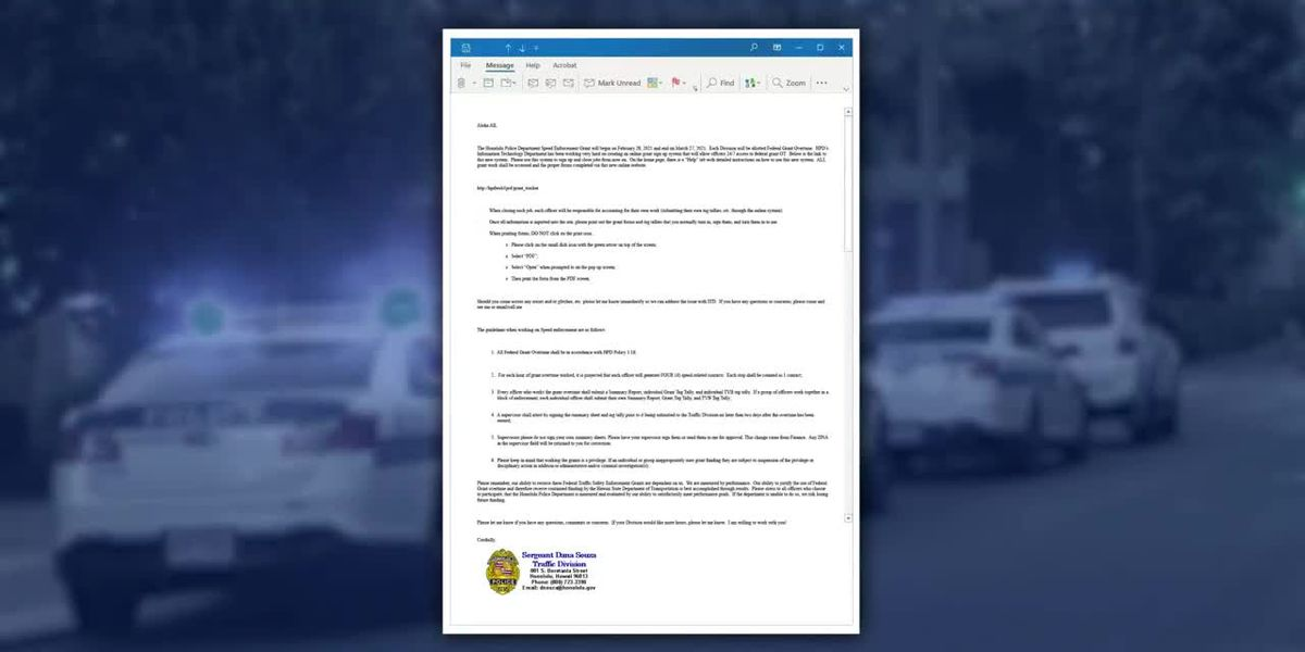 HPD sets quota for speed program, requiring officers to make more stops