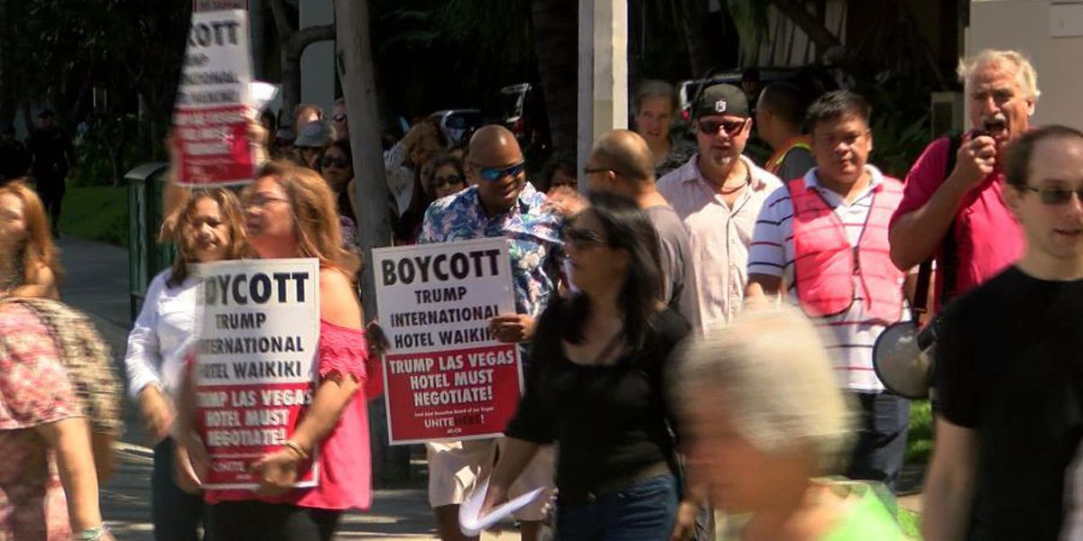 Union members form picket line in Waikiki to call for Trump boycott