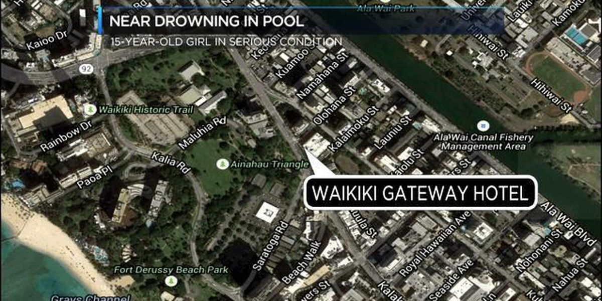 Girl, 15, in serious condition after near drowning in Waikiki hotel pool