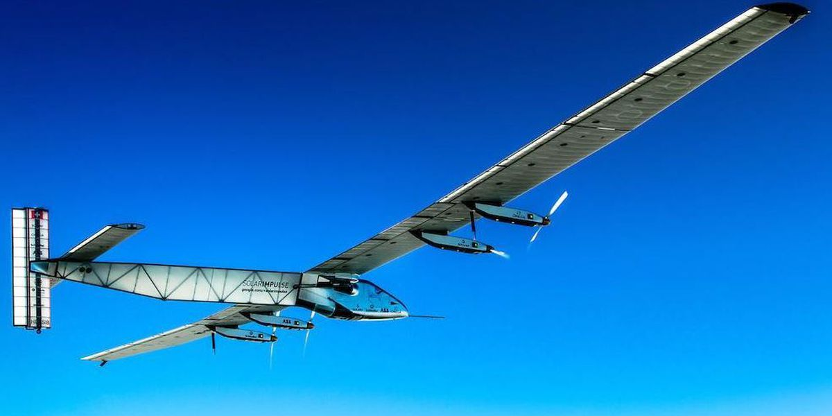 Solar plane, ready to go, waiting out weather front in Japan