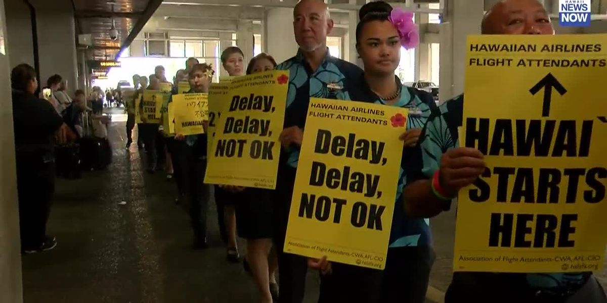 Hawaiian Airlines flight attendants picket at HNL over contract negotiations