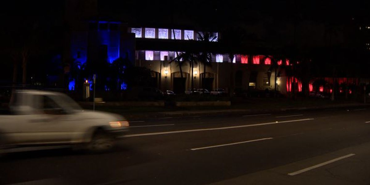 Honolulu Hale illuminated as France's Tricolour in light of Notre Dame fire
