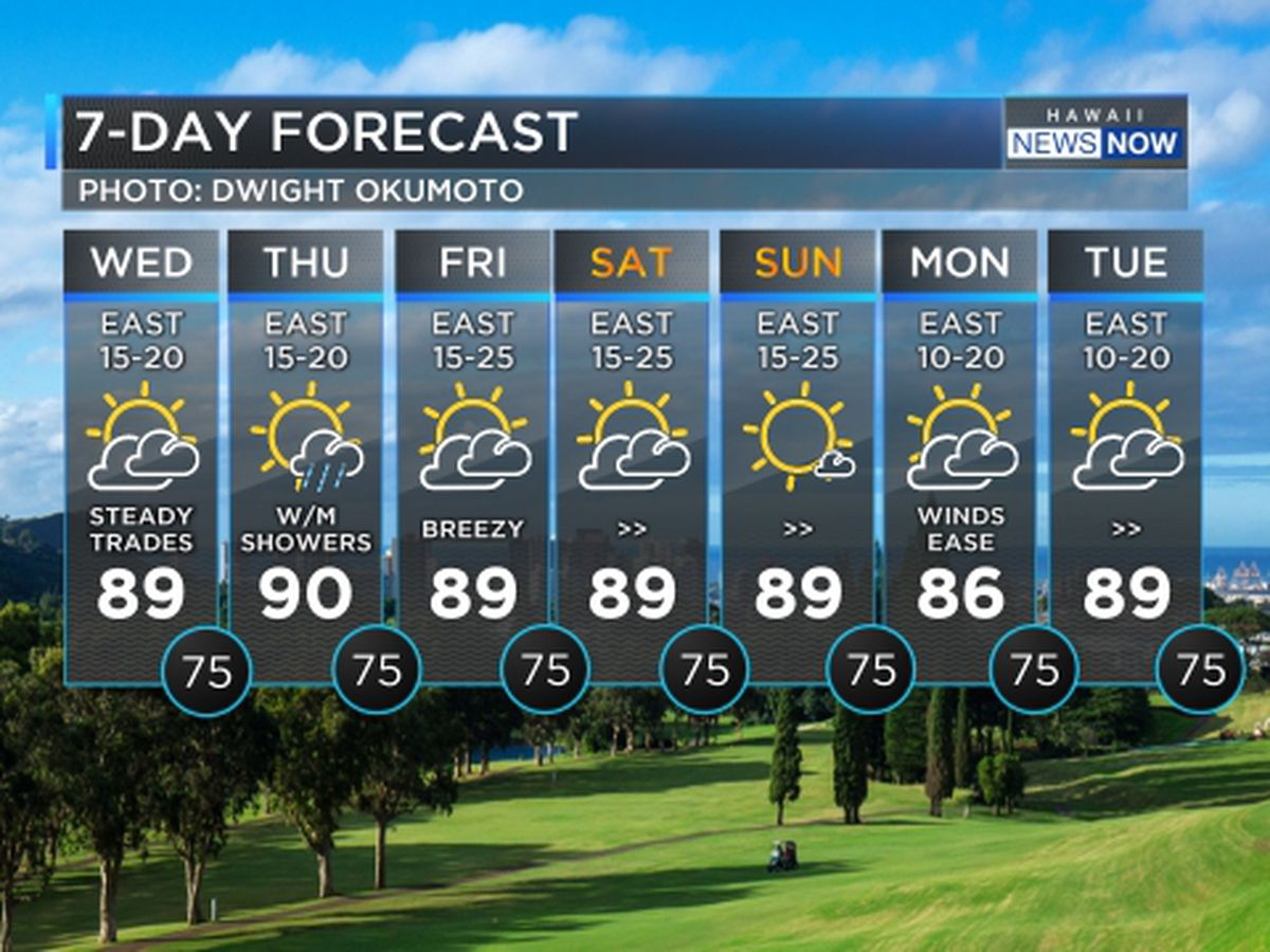 Forecast: Breezy trade winds to hold into the weekend