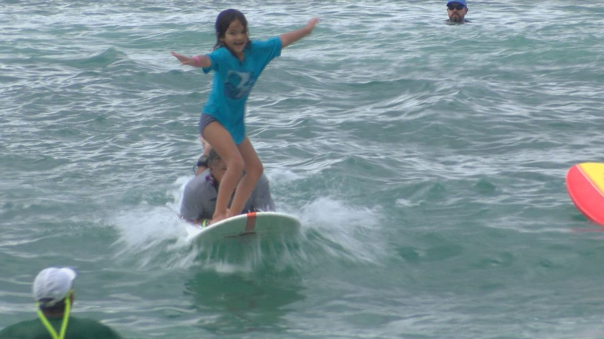Dozens of keiki hit the waves for annual Surf4HUGS event
