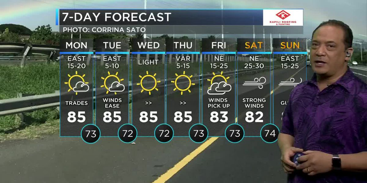 Mostly sunny skies and trade wind weather, but changes are coming.