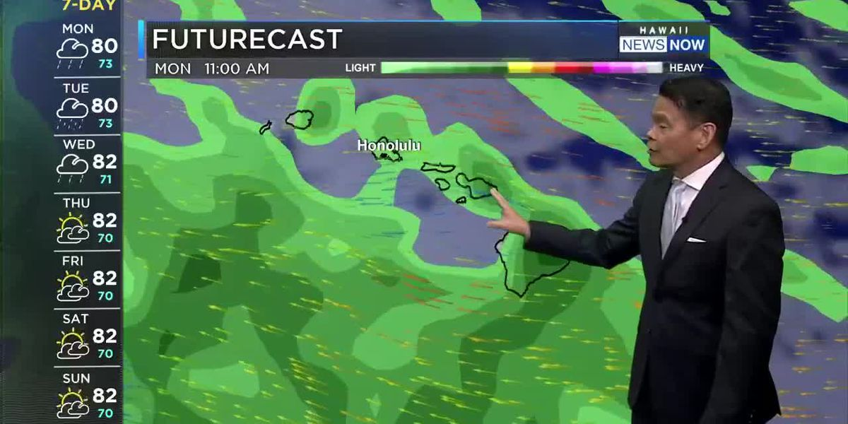 Forecast: Rainy conditions with breezy east-southeast winds