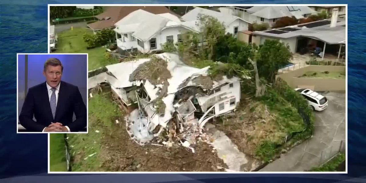 A home in Manoa collapses after nearly a week of heavy downpours