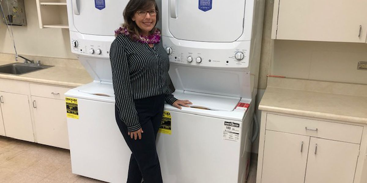 School gets appliances to launder uniforms for students who need clean clothes