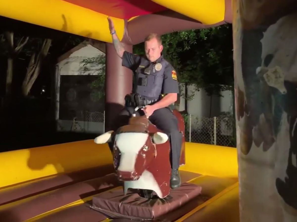 Officer responds to house party complaint, rides mechanical bull
