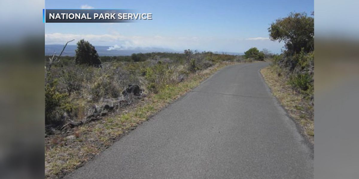 A road at Hawaii Volcanoes National Park is shut down due to wildfire risks