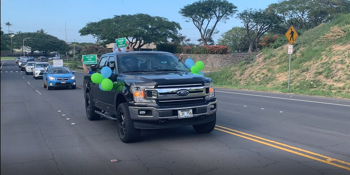 Maui nurses, healthcare workers hold car parade to highlight contract dispute
