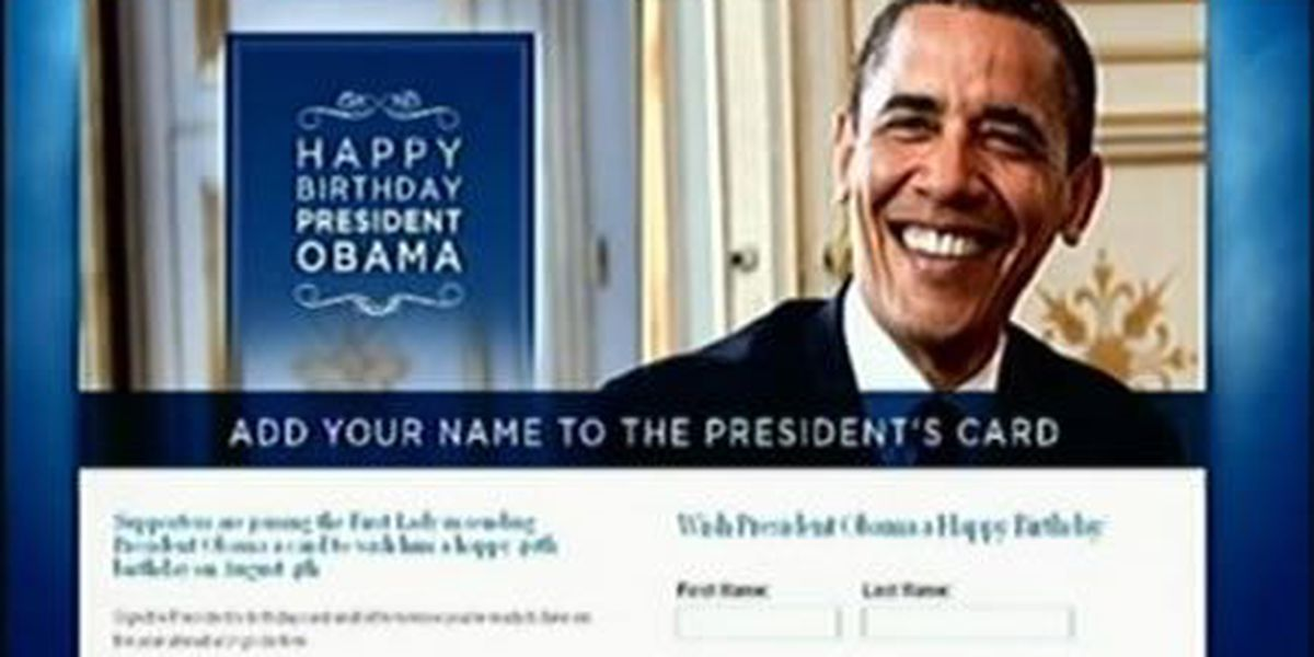 First lady asking everyone to sign president's birthday card
