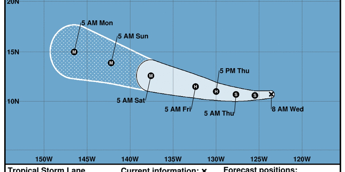 Tropical Storm Lane forms in East Pacific; moving westward