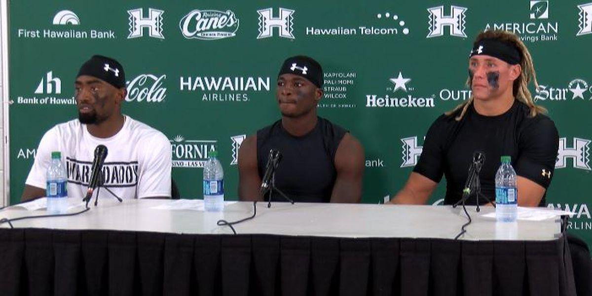 Jojo Ward, Cortez Davis, and Cole McDonald address the media following win